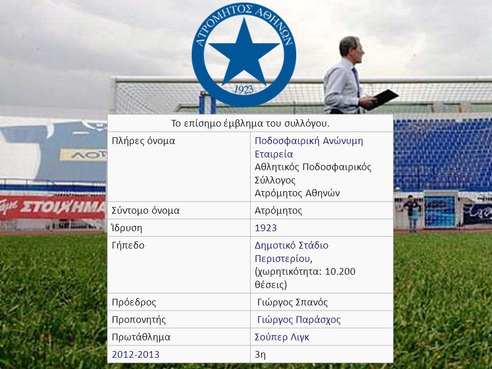 Το επίσημο έμβλημα του συλλόγου. Πλήρες όνομαΠοδοσφαιρική Ανώνυμη Εταιρεία Αθλητικός Ποδοσφαιρικός Σύλλογος Ατρόμητος Αθηνών Σύντομο όνομαΑτρόμητος Ίδ