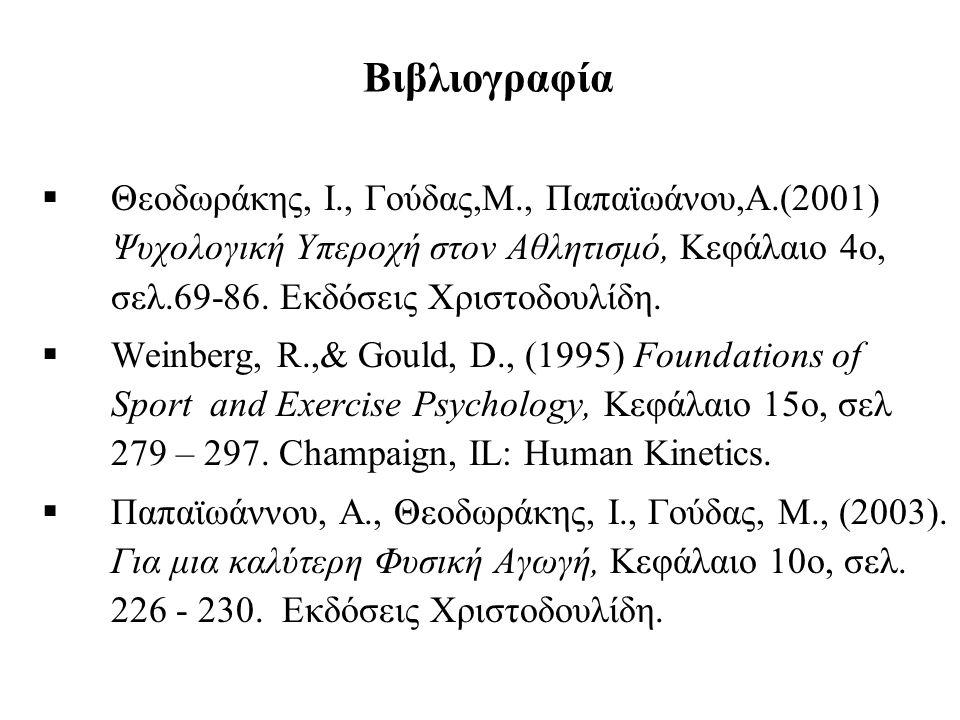 Βιβλιογραφία  Θεοδωράκης, Ι., Γούδας,Μ., Παπαϊωάνου,Α.(2001) Ψυχολογική Υπεροχή στον Αθλητισμό, Κεφάλαιο 4ο, σελ.69-86. Εκδόσεις Χριστοδουλίδη.  Wei