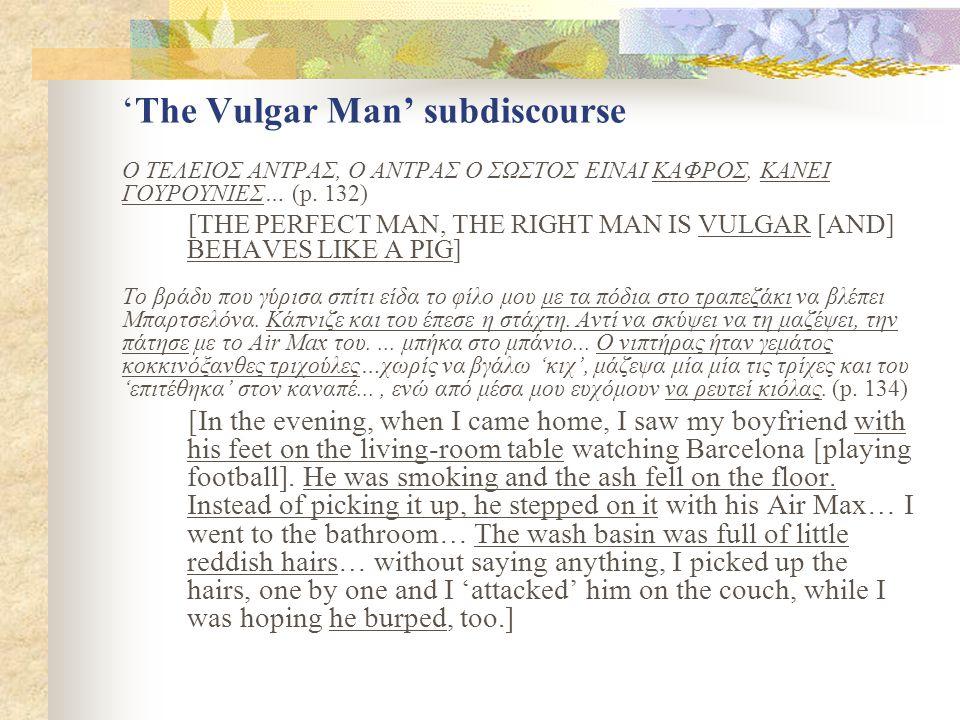 'The Vulgar Man' subdiscourse Ο ΤΕΛΕΙΟΣ ΑΝΤΡΑΣ, Ο ΑΝΤΡΑΣ Ο ΣΩΣΤΟΣ ΕΙΝΑΙ ΚΑΦΡΟΣ, ΚΑΝΕΙ ΓΟΥΡΟΥΝΙΕΣ… (p.