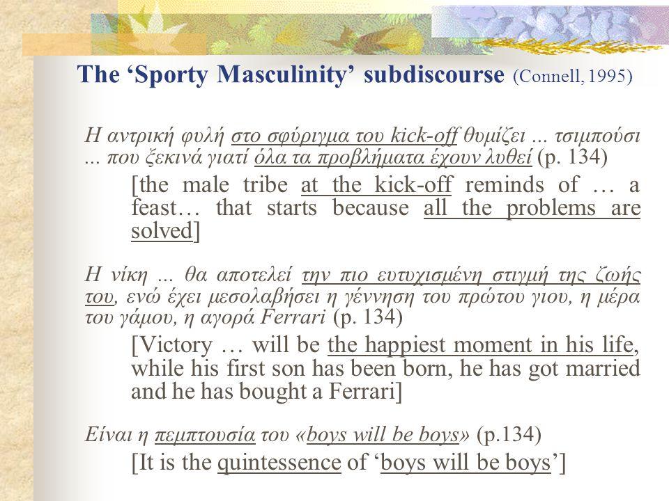 The 'Sporty Masculinity' subdiscourse (Connell, 1995) Η αντρική φυλή στο σφύριγμα του kick-off θυμίζει...
