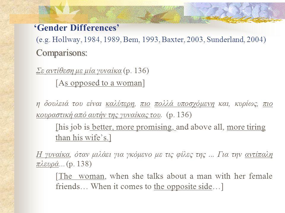 'Gender Differences' continued Presuppositions: Γι'αυτόν το τηλέφωνο δεν είναι το μέσο να συζητήσει το «πού θα πάει αυτή η σχέση» (p.