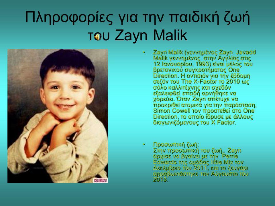 Πληροφορίες για την παιδική ζωή του Zayn Malik •Zayn Malik (γεννημένος Zayn Javadd Malik γεννημένος στην Αγγλίας στις 12 Ιανουαρίου, 1993) είναι μέλος