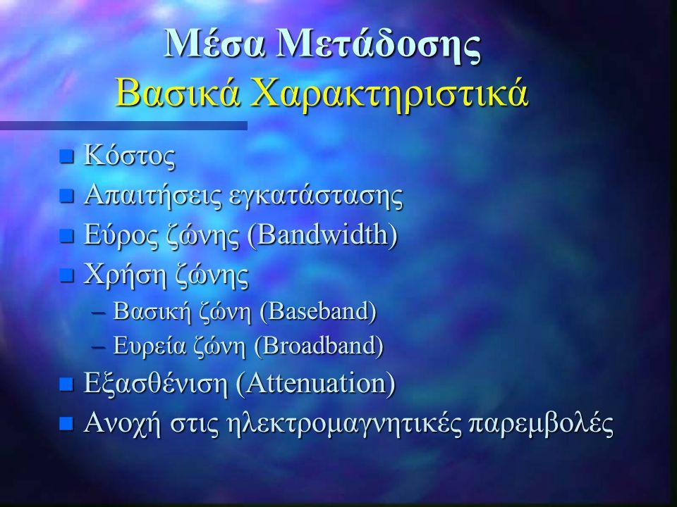 Μέσα Μετάδοσης Βασικά Χαρακτηριστικά n Κόστος n Απαιτήσεις εγκατάστασης n Εύρος ζώνης (Bandwidth) n Χρήση ζώνης –Βασική ζώνη (Baseband) –Ευρεία ζώνη (