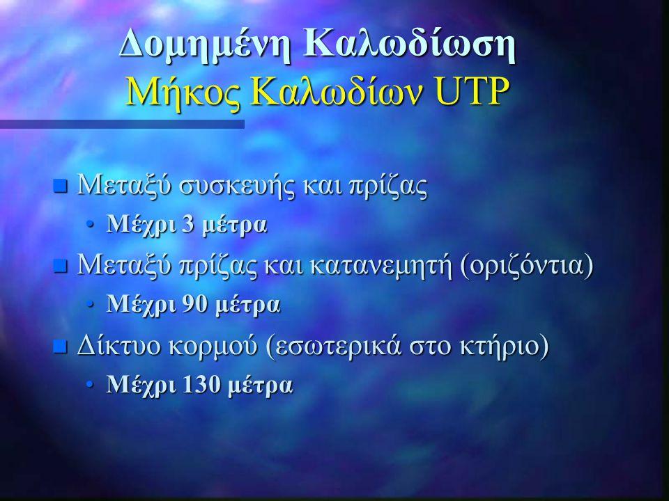 Δομημένη Καλωδίωση Μήκος Καλωδίων UTP n Μεταξύ συσκευής και πρίζας •Μέχρι 3 μέτρα n Μεταξύ πρίζας και κατανεμητή (οριζόντια) •Μέχρι 90 μέτρα n Δίκτυο