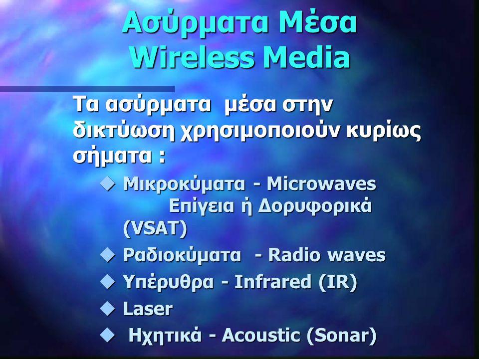 Ασύρματα Μέσα Wireless Media Τα ασύρματα μέσα στην δικτύωση χρησιμοποιούν κυρίως σήματα : uΜικροκύματα - Microwaves Επίγεια ή Δορυφορικά (VSAT) uΡαδιο
