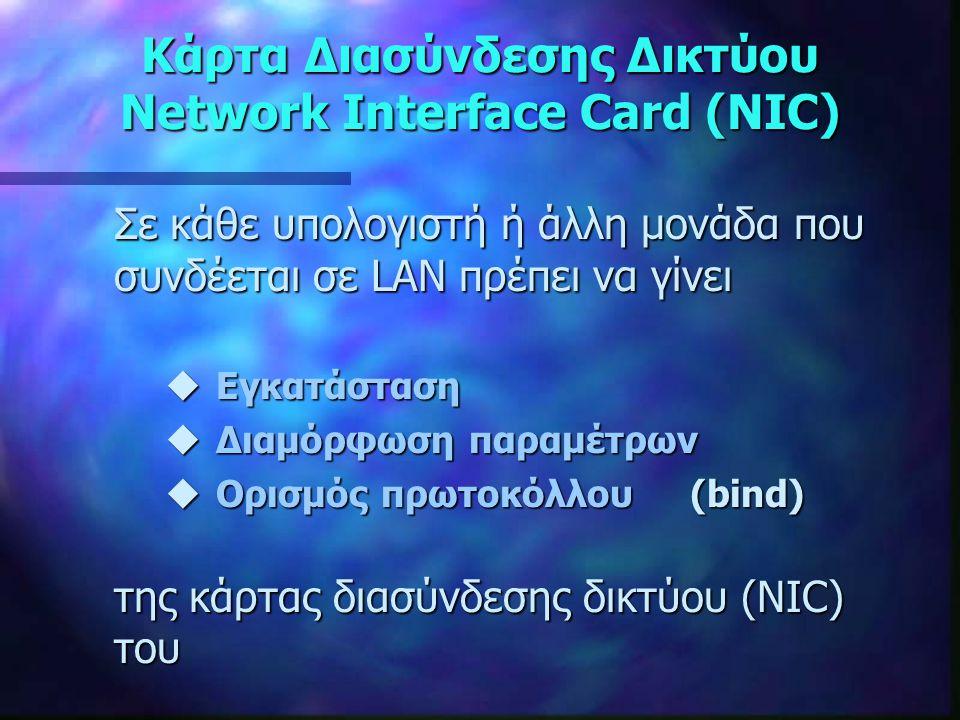 Κάρτα Διασύνδεσης Δικτύου Network Interface Card (NIC) Σε κάθε υπολογιστή ή άλλη μονάδα που συνδέεται σε LAN πρέπει να γίνει uΕγκατάσταση uΔιαμόρφωση