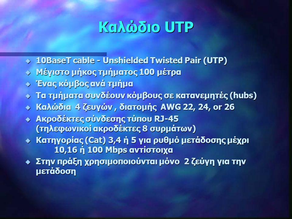 Καλώδιο UTP u 10BaseT cable - Unshielded Twisted Pair (UTP) u Μέγιστο μήκος τμήματος 100 μέτρα u Ένας κόμβος ανά τμήμα u Τα τμήματα συνδέουν κόμβους σ