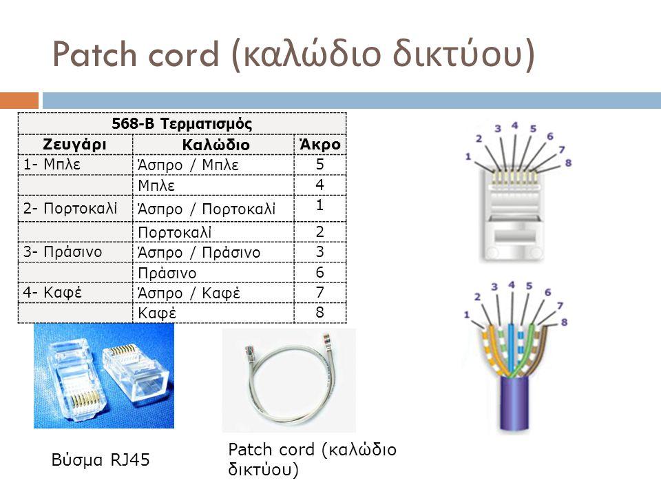 Patch cord ( καλώδιο δικτύου ) Βύσμα RJ45 568-B Τερματισμός Ζευγάρι Καλώδιο Άκρο 1- Μπλε Άσπρο / Μπλε 5 Μπλε 4 2- Πορτοκαλί Άσπρο / Πορτοκαλί 1 Πορτοκ