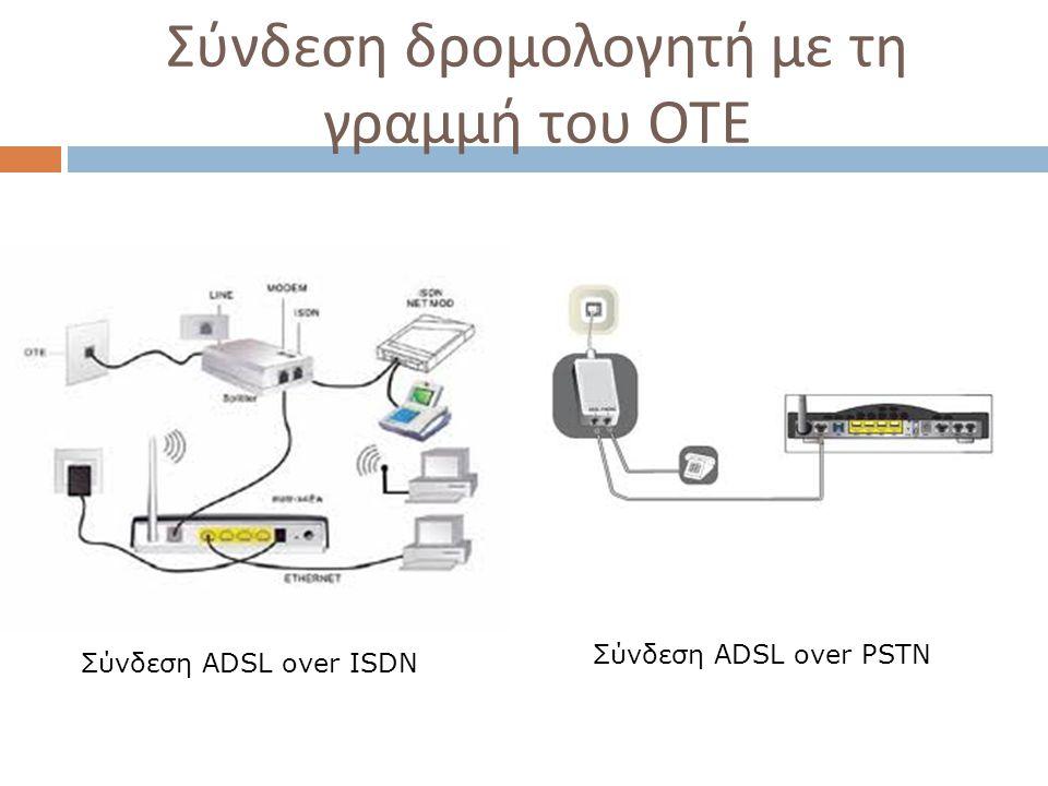 Σύνδεση δρομολογητή με τη γραμμή του ΟΤΕ Σύνδεση ADSL over ISDN Σύνδεση ADSL over PSTN