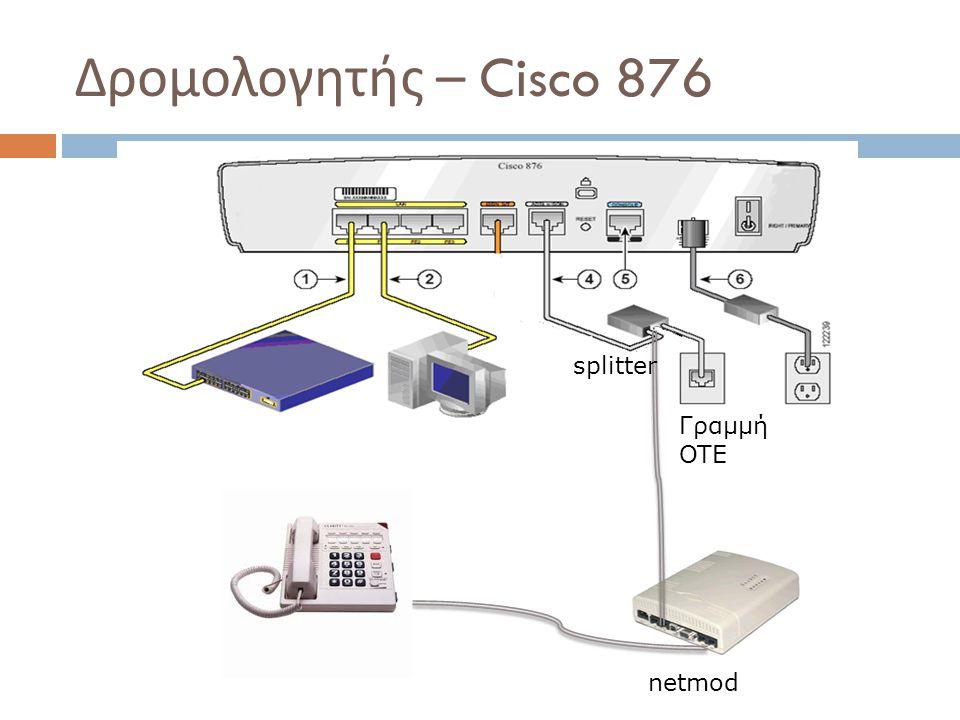 Δρομολογητής – Cisco 876 netmod splitter Γραμμή OTE