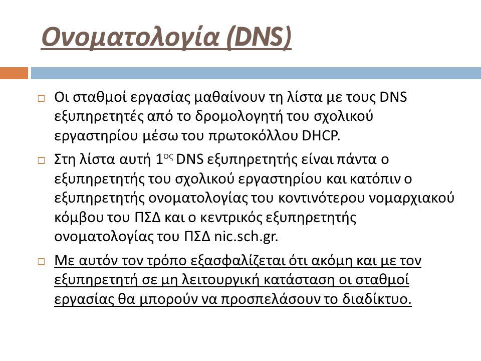 Ονοματολογία (DNS)  Οι σταθμοί εργασίας μαθαίνουν τη λίστα με τους DNS εξυπηρετητές από το δρομολογητή του σχολικού εργαστηρίου μέσω του πρωτοκόλλου