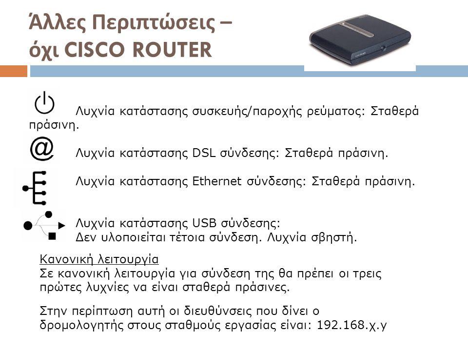 Άλλες Περιπτώσεις – όχι CISCO ROUTER Λυχνία κατάστασης συσκευής/παροχής ρεύματος: Σταθερά πράσινη. Λυχνία κατάστασης DSL σύνδεσης: Σταθερά πράσινη. Λυ
