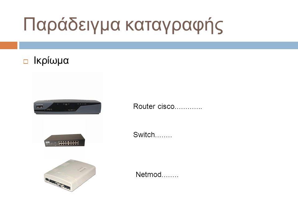 Παράδειγμα καταγραφής  Ικρίωμα Router cisco............. Switch........ Netmod........