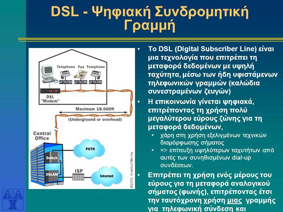 DSL - Ψηφιακή Συνδρομητική Γραμμή •Το DSL (Digital Subscriber Line) είναι μια τεχνολογία που επιτρέπει τη μεταφορά δεδομένων με υψηλή ταχύτητα, μέσω τ