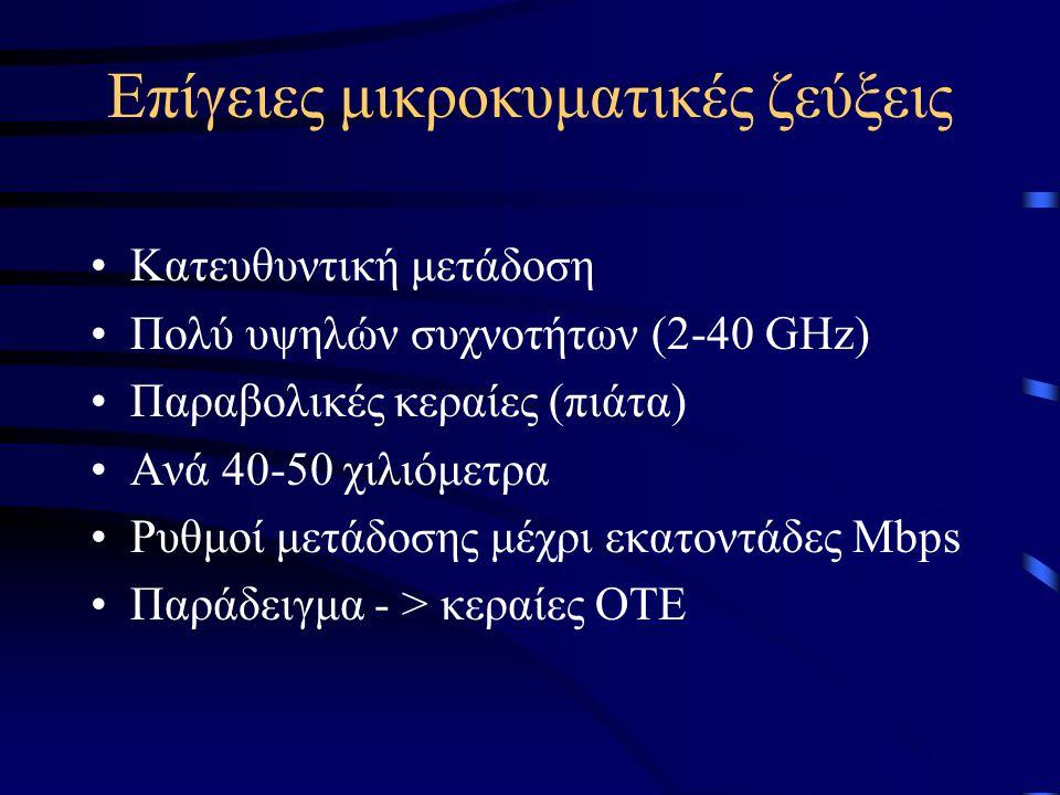 Επίγειες μικροκυματικές ζεύξεις •Κατευθυντική μετάδοση •Πολύ υψηλών συχνοτήτων (2-40 GHz) •Παραβολικές κεραίες (πιάτα) •Ανά 40-50 χιλιόμετρα •Ρυθμοί μ