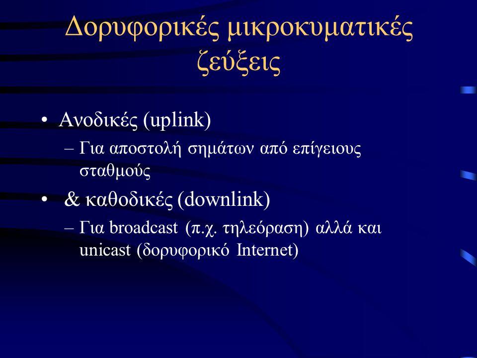 Δορυφορικές μικροκυματικές ζεύξεις •Ανοδικές (uplink) –Για αποστολή σημάτων από επίγειους σταθμούς • & καθοδικές (downlink) –Για broadcast (π.χ. τηλεό