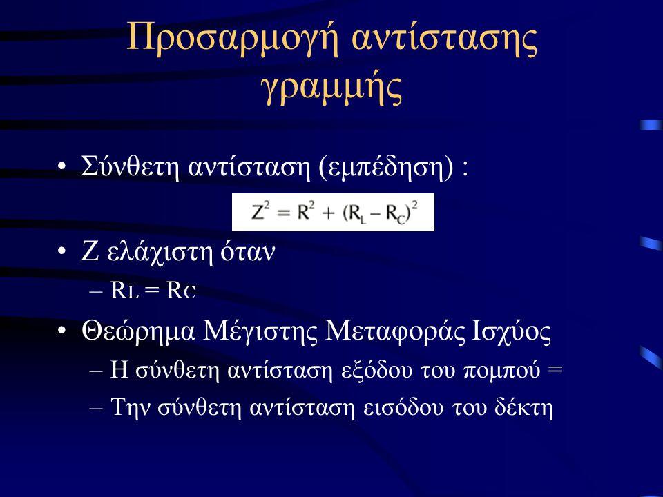 Προσαρμογή αντίστασης γραμμής •Σύνθετη αντίσταση (εμπέδηση) : •Ζ ελάχιστη όταν –R L = R C •Θεώρημα Μέγιστης Μεταφοράς Ισχύος –Η σύνθετη αντίσταση εξόδ