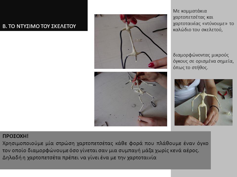Β. ΤΟ ΝΤΥΣΙΜΟ ΤΟΥ ΣΚΕΛΕΤΟΥ Με κομματάκια χαρτοπετσέτας και χαρτοταινίας «ντύνουμε» το καλώδιο του σκελετού, διαμορφώνοντας μικρούς όγκους σε ορισμένα