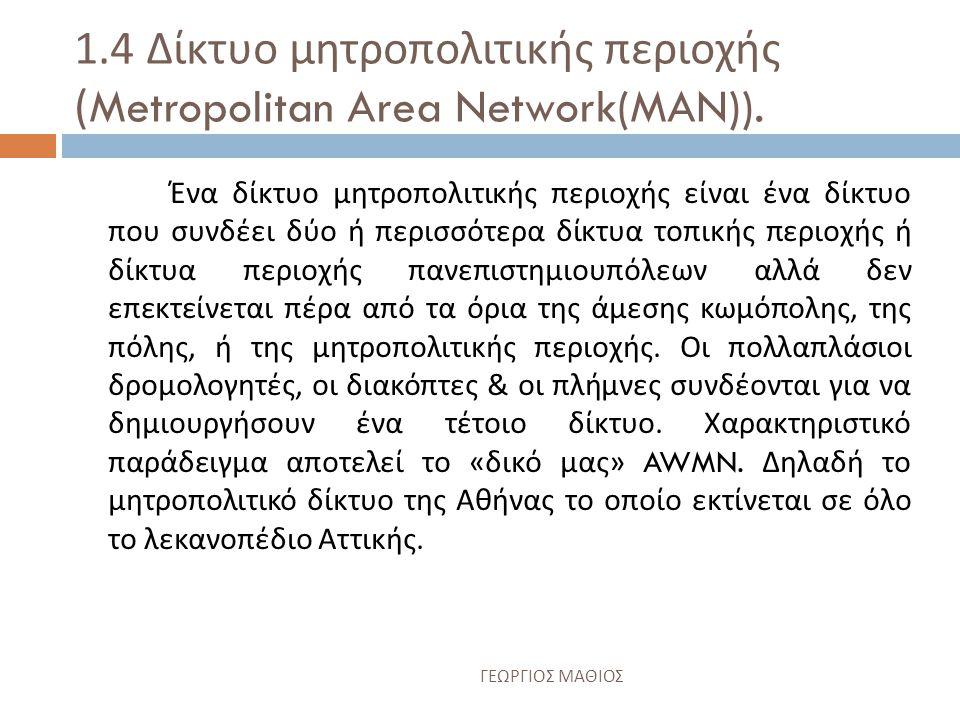 1.3 Δίκτυο περιοχής πανεπιστημιουπόλεων (Campus Area Network (CAN)).