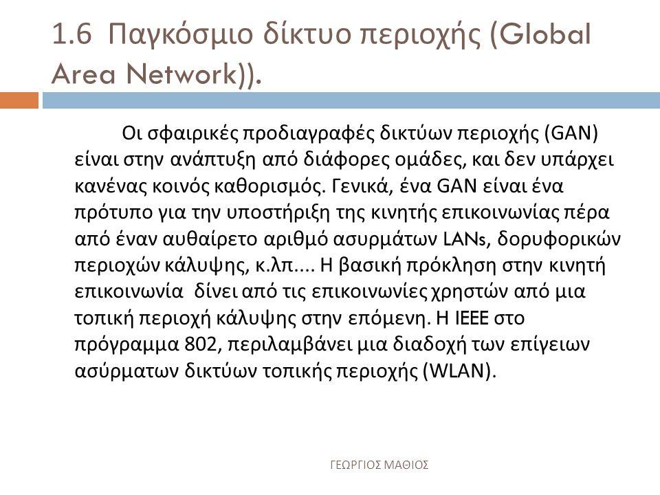 1.5 Δίκτυο ευρείας περιοχής (Wide Area Network (WAN)).
