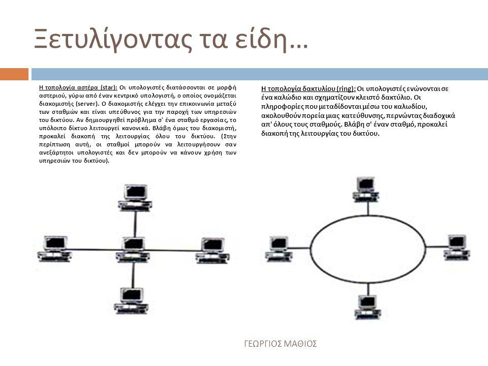 Αναλύοντας τις τοπολογίες των δικτύων … Υπάρχουν 7 είδη τοπολογίας δικτύων αυτά είναι τα εξής : 1.