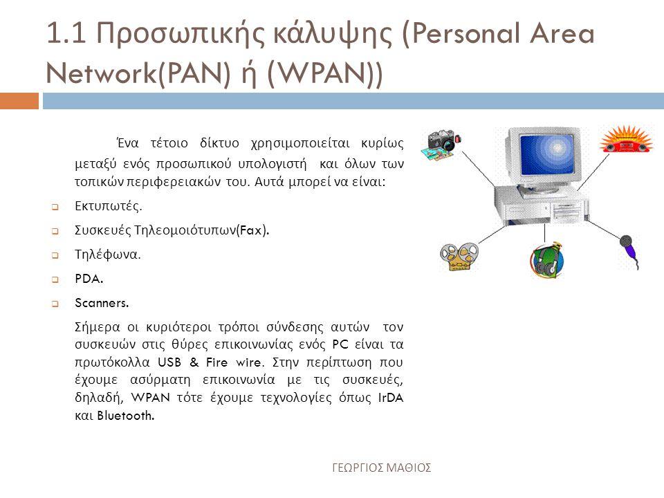 1.1 Προσωπικής κάλυψης (Personal Area Network(PAN) ή (WPAN)) Ένα τέτοιο δίκτυο χρησιμοποιείται κυρίως μεταξύ ενός προσωπικού υπολογιστή και όλων των τοπικών περιφερειακών του.