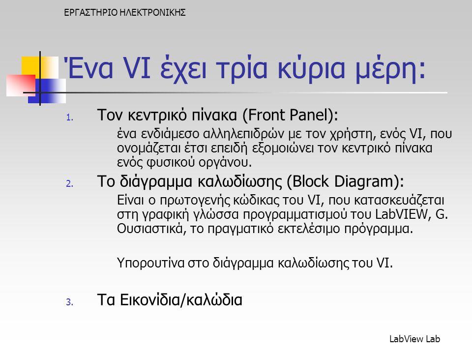 LabView Lab ΕΡΓΑΣΤΗΡΙΟ ΗΛΕΚΤΡΟΝΙΚΗΣ Ένα VI έχει τρία κύρια μέρη: 1.