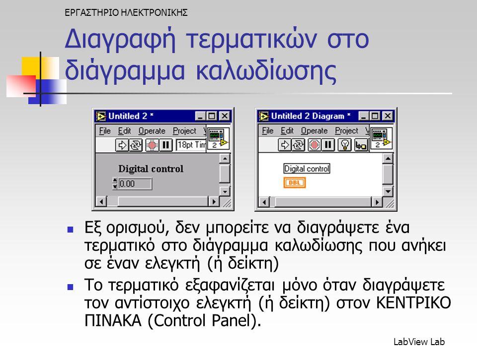 LabView Lab ΕΡΓΑΣΤΗΡΙΟ ΗΛΕΚΤΡΟΝΙΚΗΣ Διαγραφή τερματικών στο διάγραμμα καλωδίωσης  Εξ ορισμού, δεν μπορείτε να διαγράψετε ένα τερματικό στο διάγραμμα καλωδίωσης που ανήκει σε έναν ελεγκτή (ή δείκτη)  Το τερματικό εξαφανίζεται μόνο όταν διαγράψετε τον αντίστοιχο ελεγκτή (ή δείκτη) στον ΚΕΝΤΡΙΚΟ ΠΙΝΑΚΑ (Control Panel).