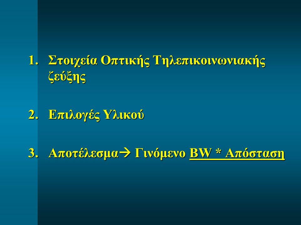 1.Στοιχεία Οπτικής Τηλεπικοινωνιακής ζεύξης 2.Επιλογές Υλικού 3.Αποτέλεσμα  Γινόμενο BW * Απόσταση