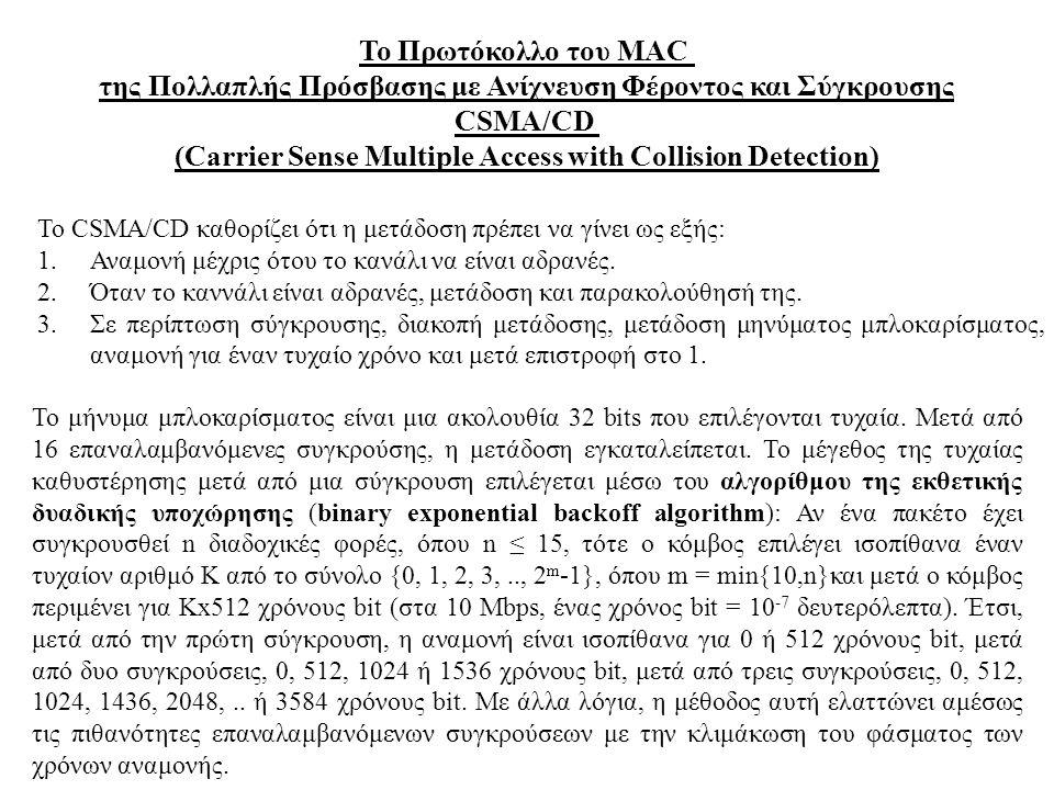 Το Πρωτόκολλο του MAC της Πολλαπλής Πρόσβασης με Ανίχνευση Φέροντος και Σύγκρουσης CSMA/CD (Carrier Sense Multiple Access with Collision Detection) To