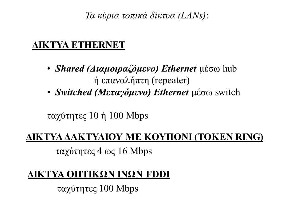 Τα κύρια τοπικά δίκτυα (LANs): ΔΙΚΤΥΑ ETHERNET • Shared (Διαμοιραζόμενο) Ethernet μέσω hub ή επαναλήπτη (repeater) • Switched (Μεταγόμενο) Ethernet μέ