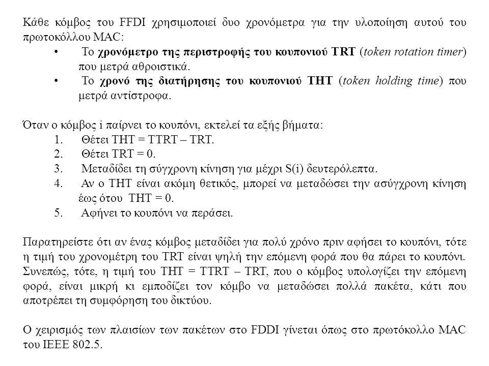 Κάθε κόμβος του FFDI χρησιμοποιεί δυο χρονόμετρα για την υλοποίηση αυτού του πρωτοκόλλου MAC: • Το χρονόμετρο της περιστροφής του κουπονιού TRT (token