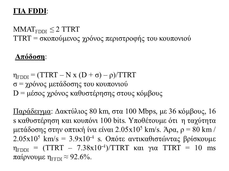 ΓΙΑ FDDI: MMAT FDDI ≤ 2 TTRT TTRT = σκοπούμενος χρόνος περιστροφής του κουπονιού Απόδοση: η FDDI = (TTRT – N x (D + σ) – ρ)/ΤΤRT σ = χρόνος μετάδοσης