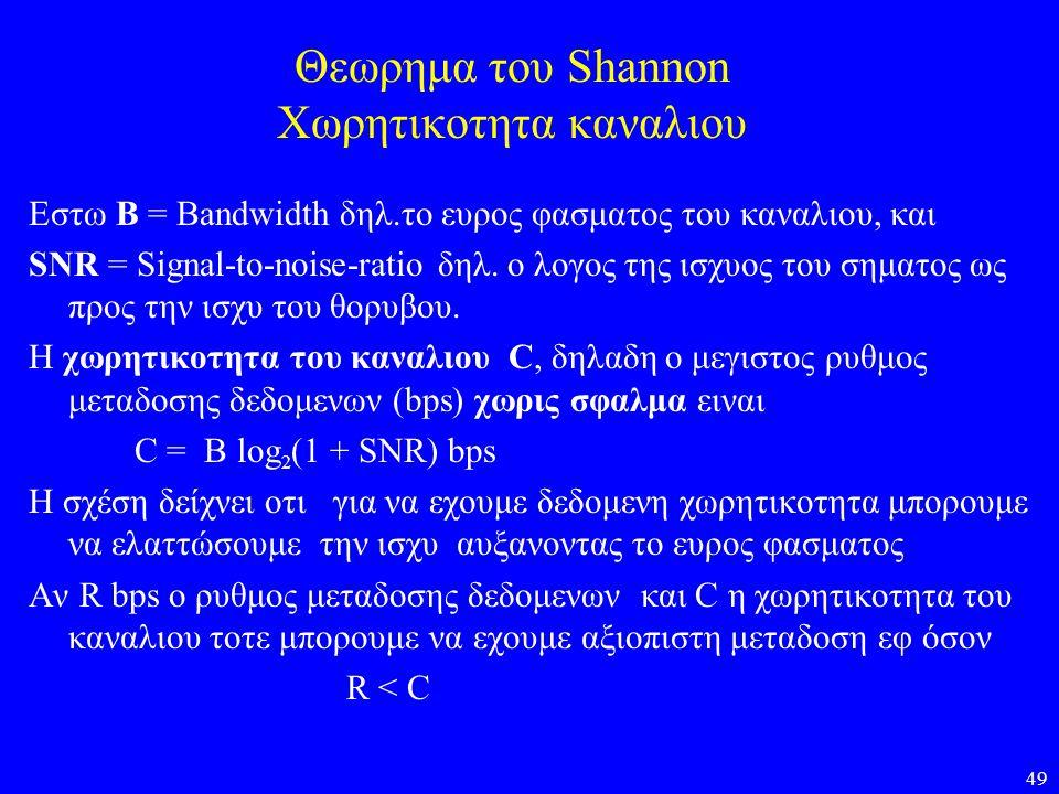 49 Θεωρημα του Shannon Χωρητικοτητα καναλιου Εστω Β = Bandwidth δηλ.το ευρος φασματος του καναλιου, και SNR = Signal-to-noise-ratio δηλ. ο λογος της ι