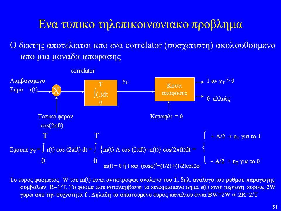 51 Ενα τυπικο τηλεπικοινωνιακο προβλημα Ο δεκτης αποτελειται απο ενα correlator (συσχετιστη) ακολουθουμενο απο μια μοναδα αποφασης correlator Λαμβανομ