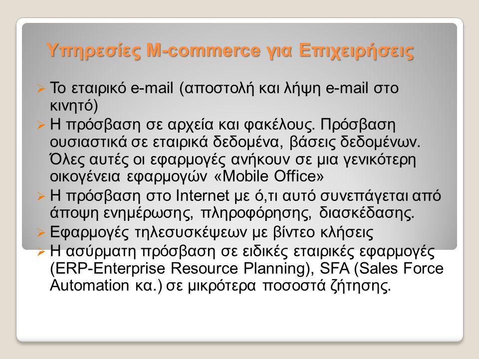 Υπηρεσίες M-commerce για Επιχειρήσεις  Το εταιρικό e-mail (αποστολή και λήψη e-mail στο κινητό)  H πρόσβαση σε αρχεία και φακέλους. Πρόσβαση ουσιαστ