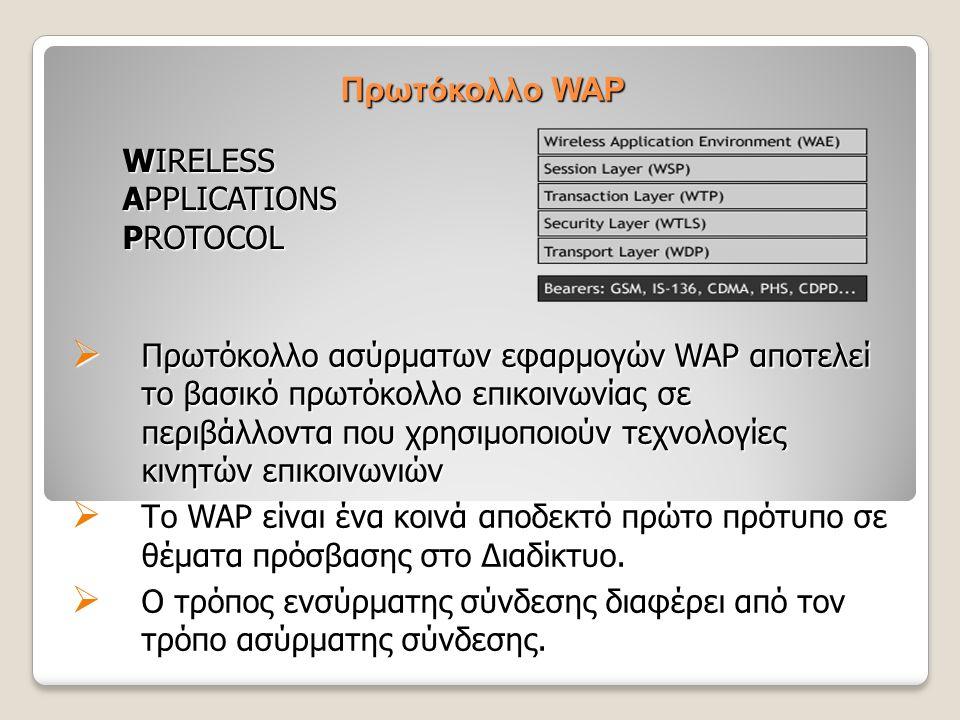 Πρωτόκολλο WAP  Πρωτόκολλο ασύρματων εφαρμογών WAP αποτελεί το βασικό πρωτόκολλο επικοινωνίας σε περιβάλλοντα που χρησιμοποιούν τεχνολογίες κινητών ε