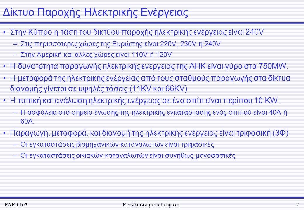 FAER105Εναλλασσόμενα Ρεύματα2 Δίκτυο Παροχής Ηλεκτρικής Ενέργειας •Στην Κύπρο η τάση του δικτύου παροχής ηλεκτρικής ενέργειας είναι 240V –Στις περισσό