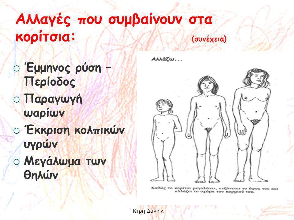  Έμμηνος ρύση – Περίοδος  Παραγωγή ωαρίων  Έκκριση κολπικών υγρών  Μεγάλωμα των θηλών Αλλαγές που συμβαίνουν στα κορίτσια: (συνέχεια) Πέτρη Δανιήλ