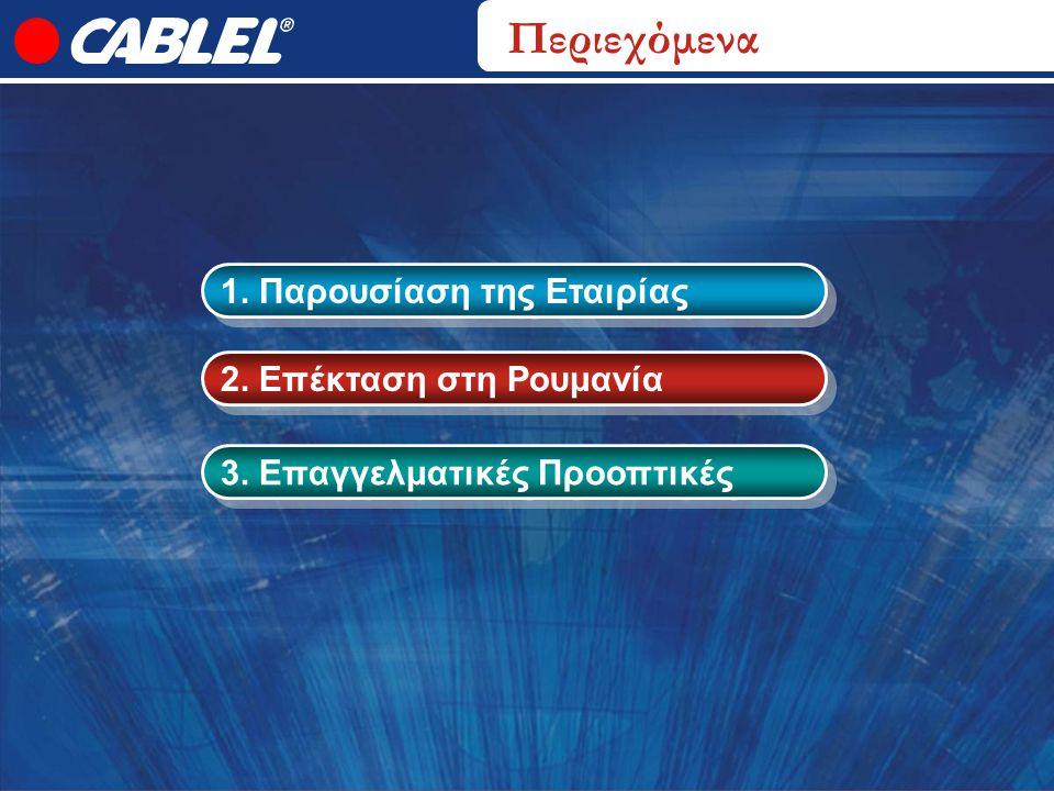 1. Παρουσίαση της Εταιρίας 2. Επέκταση στη Ρουμανία 3. Επαγγελματικές Προοπτικές Περιεχόμενα