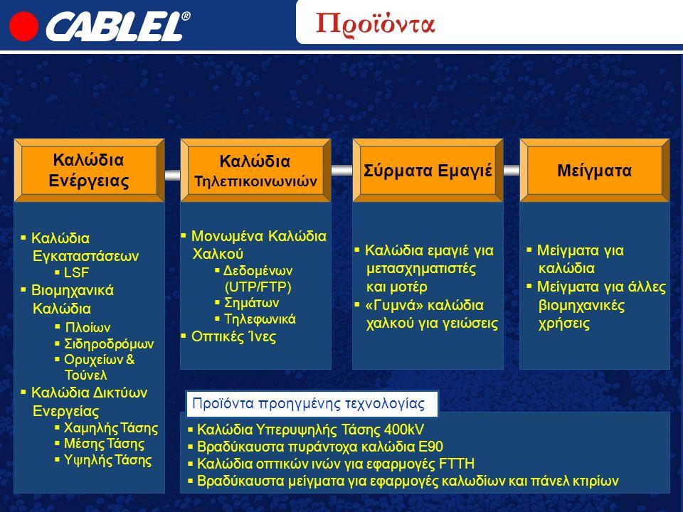 Καλώδια Ενέργειας Καλώδια Τηλεπικοινωνιών Enameled WireCompounds Προϊόντα Σύρματα ΕμαγιέΜείγματα  Μείγματα για καλώδια  Μείγματα για άλλες βιομηχανι