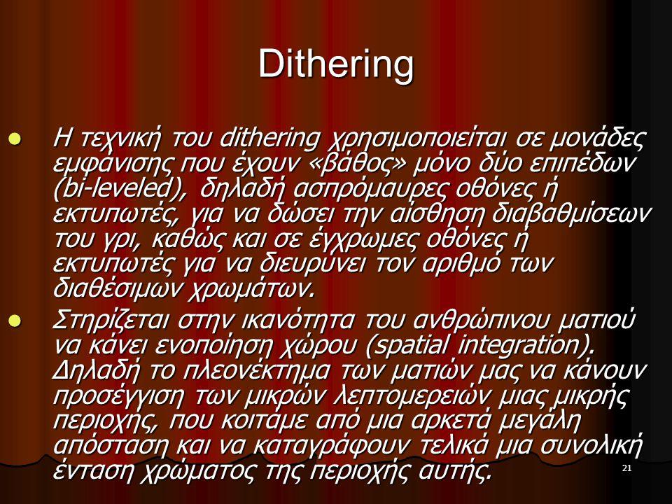21 Dithering  Η τεχνική του dithering χρησιμοποιείται σε μονάδες εμφάνισης που έχουν «βάθος» μόνο δύο επιπέδων (bi-leveled), δηλαδή ασπρόμαυρες οθόνε