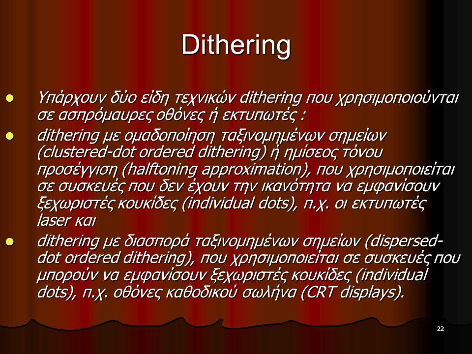 22 Dithering  Υπάρχουν δύο είδη τεχνικών dithering που χρησιμοποιούνται σε ασπρόμαυρες οθόνες ή εκτυπωτές :  dithering με ομαδοποίηση ταξινομημένων