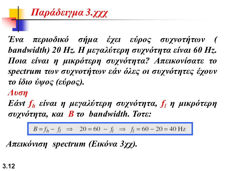 3.12 Ένα περιοδικό σήμα έχει εύρος συχνοτήτων ( bandwidth) 20 Hz. Η μεγαλύτερη συχνότητα είναι 60 Hz. Ποια είναι η μικρότερη συχνότητα? Απεικονίσατε τ