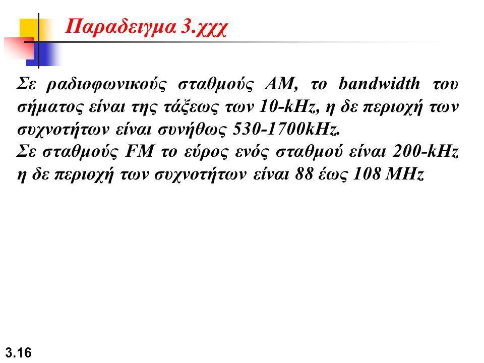 3.16 Σε ραδιοφωνικούς σταθμούς AM, το bandwidth του σήματος είναι της τάξεως των 10-kHz, η δε περιοχή των συχνοτήτων είναι συνήθως 530-1700kHz. Σε στα