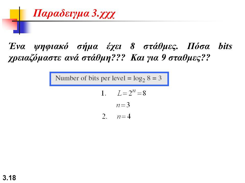 3.18 Ένα ψηφιακό σήμα έχει 8 στάθμες. Πόσα bits χρειαζόμαστε ανά στάθμη??? Και για 9 σταθμες?? Παραδειγμα 3.χχχ