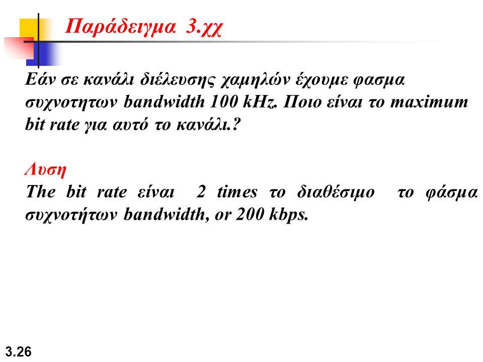 3.26 Εάν σε κανάλι διέλευσης χαμηλών έχουμε φασμα συχνοτητων bandwidth 100 kHz. Ποιο είναι το maximum bit rate για αυτό το κανάλι.? Λυση The bit rate