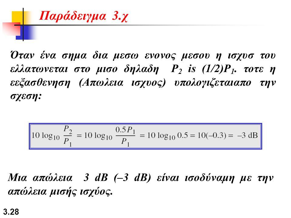 3.28 Όταν ένα σημα δια μεσω ενονος μεσου η ισχυσ του ελλατωνεται στο μισο δηλαδη P 2 is (1/2)P 1. τοτε η εεξασθενηση (Απωλεια ισχυος) υπολογιζεταιαπο