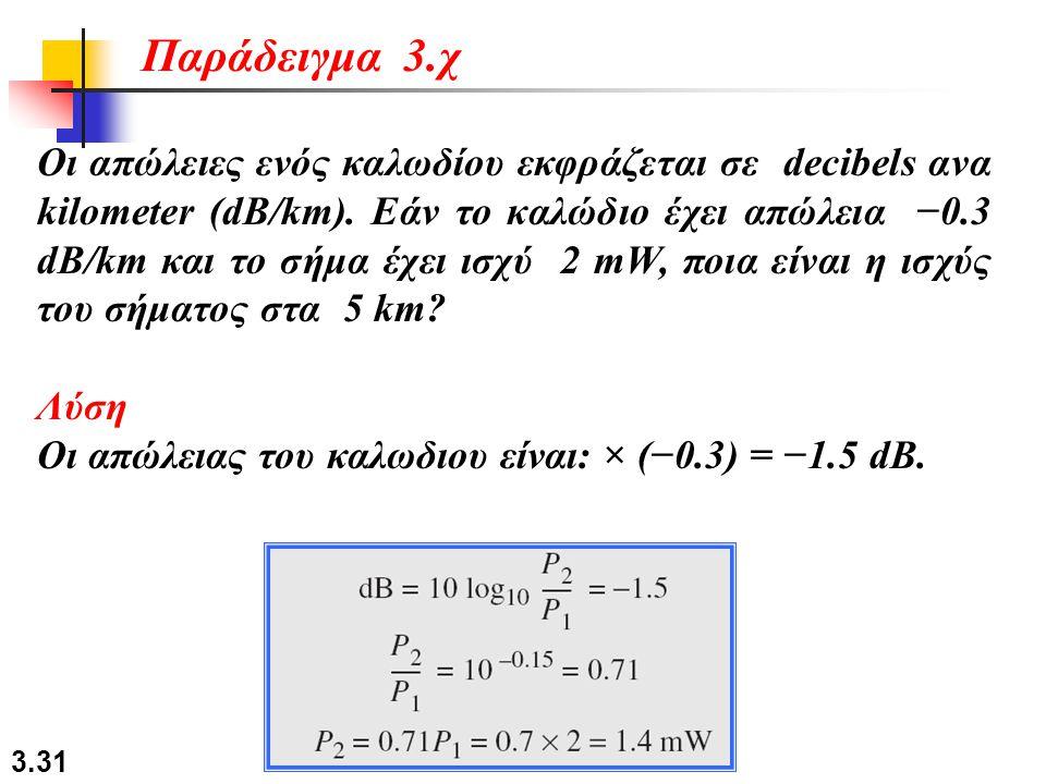 3.31 Οι απώλειες ενός καλωδίου εκφράζεται σε decibels ανα kilometer (dB/km). Εάν το καλώδιο έχει απώλεια −0.3 dB/km και το σήμα έχει ισχύ 2 mW, ποια ε