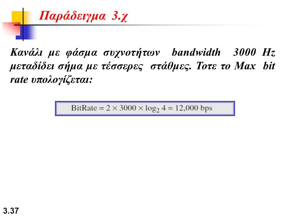 3.37 Κανάλι με φάσμα συχνοτήτων bandwidth 3000 Hz μεταδίδει σήμα με τέσσερες στάθμες. Τοτε το Max bit rate υπολογίζεται: Παράδειγμα 3.χ